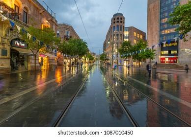 Jerusalem, Israel - April 26, 2018: Jaffa Street after a heavy rainfall
