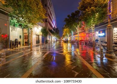 Jerusalem, Israel - April 26, 2018: A street in downtime jerusalem at night shortly after a storm.