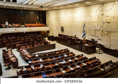 JERUSALEM, ISRAEL. April 3, 2016. The empty plenary hall of the Israeli Parliament Knesset. Parliamentary vacation before sessions.