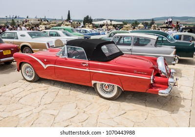 JERUSALEM, ISRAEL - APRIL 3, 2018: Vintage Chevrolet Bel Air  (1957) presented on oldtimer car show