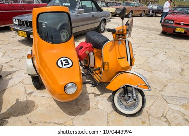 JERUSALEM, ISRAEL - APRIL 3, 2018: Vintage Piaggio Vespa Sidecar presented on oldtimer car show, Israel
