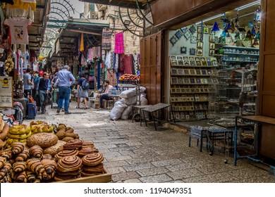 JERUSALEM, ISRAEL - APRIL 5, 2018: The market street in old town of Jerusalem.