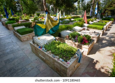 Jerusalem, Israel - April 9, 2016: Graves of Israeli soldiers killed in wars at Mount Herzle Military Cemetary.