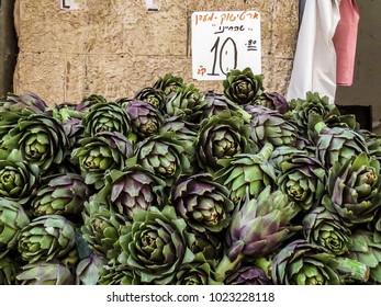 Jerusalem, Israel -  artichokes in the Machane Yehuda Market in Jerusalem