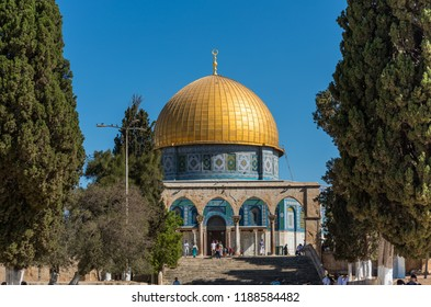 Jerusalem, Israel, Aug 20th, 2018: The Golden Dome of the Rock, or Qubbat al-Sakhra, and stone gate ruins in an Islamic shrine located on the Temple Mount in the Old City of Jerusalem.
