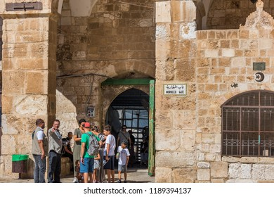 Jerusalem, Israel, August 20th, 2018: Lot of the tourist at the Gate of the Moors , or Mughrabi Gate, next to the Al-Aqsa mosque, located on the Temple Mount in the Old City of Jerusalem.