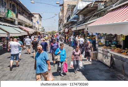 JERUSALEM, ISRAEL - AUGUST 21, 2018: Mahane Yehuda Market is popular marketplace in Jerusalem, Israel