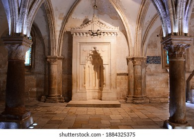 Jerusalem, Israel - The Cenacle, place of the least supper of Jesus Christ and the descent of the Holy Spirit upon the disciples on the day of Pentecost empty due to the Corona Pandemic