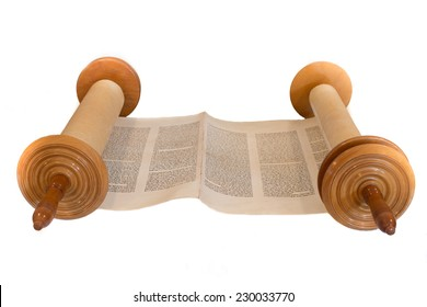 JERUSALEM, ISRAEL, CIRCA 2014. The Hebrew handwritten Torah, on a synagogue alter, illustrating Jewish holidays, during fests. Isolated on white.