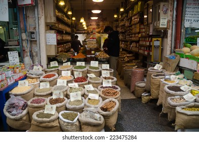 JERUSALEM, ISRAEL -  CIRCA MAY, 2013 - Tourist buy spices at a market in the old city Jerusalem, Israel