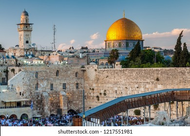 JERUSALEM, ISRAEL - CIRCA MAY 2018: View of the the Western Wall in Jerusalem, Israel circa May 2018 in Jerusalem.