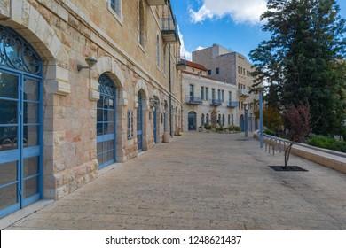 Jerusalem/ Israel - Dec 01 2018: Jerusalem's municipality buildings on Safra square