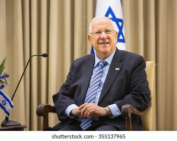 JERUSALEM, ISRAEL - Dec 22, 2015: Israeli President Reuven Rivlin during a meeting in the framework of the state visit of the president of Ukraine Petro Poroshenko