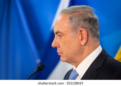 JERUSALEM, ISRAEL - Dec 22, 2015: Israeli Prime Minister Benjamin Netanyahu during a meeting with President of Ukraine Petro Poroshenko in Jerusalem