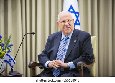 JERUSALEM, ISRAEL - Dec 22, 2015: Israeli President Reuven Rivlin during a meeting in the framework of the state visit of the president of Ukraine Petro Poroshenko