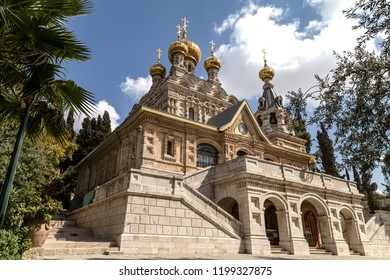 Jerusalem, Israel - December 08, 2017:  View church of Russian Orthodox Convent of St. Mary Magdalene at Mount of Olives in Jerusalem