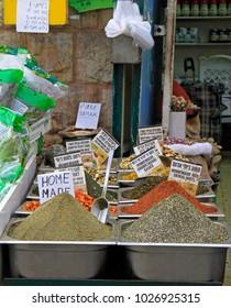 Jerusalem, Israel - December 1, 2017: stall with mixtures at Machane Yehuda Market in Jerusalem, Israel