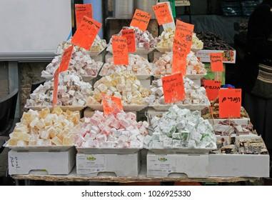 Jerusalem, Israel - December 1, 2017: stall with turkish delights at Machane Yehuda Market in Jerusalem, Israel