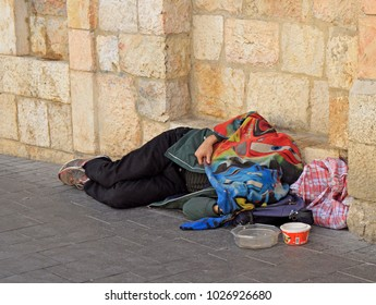 Jerusalem, Israel - December 1, 2017: homeless is sleeping outdoor in Jerusalem Israel