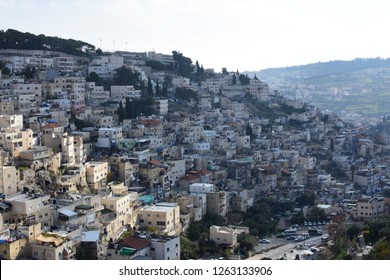 Jerusalem, Israel - December 10 2018: The view from the City of David with the  background Arab neighborhood of Silwan outside East Jerusalem and south of the Old City