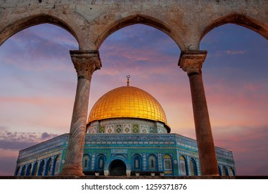 Jerusalem, Israel - December 15th 2018. Al-Aqsa mosque, temple mount, Jerusalem, Israel. It is an Islamic shrine located on the Temple Mount in the Old City of Jerusalem.
