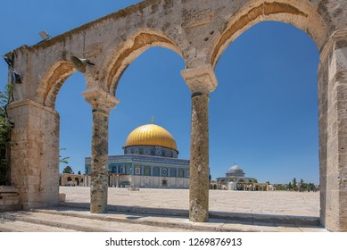 Jerusalem, Israel - December 15th 2018. People exploring the Dome of the Rock. It is an Islamic shrine located on the Temple Mount in the Old City of Jerusalem.