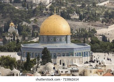 Jerusalem, Israel - December 16, 2016 : The Dom of Rock on the Temple Mount in the Old City of Jerusalem