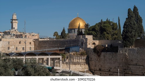 Jerusalem, Israel - December 18 2017:  The dome of the Rock and the Wailing Wall  viewed from Jewish Quarter.