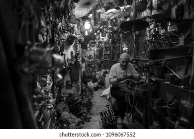 Jerusalem, Israel - December 18 2017: The local Copper Smith in Muslim Quarter in Old City Jerusalem.