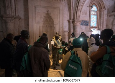 Jerusalem, Israel - December 18 2017: The tour in Cenacle, a room in the David's Tomb Compound in Jerusalem, traditionally held to be the site of the Last Supper.