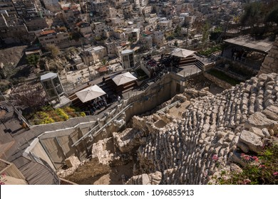 Jerusalem, Israel - December 18 2017: The ruin of City of David. The archaeological site is under excavation.