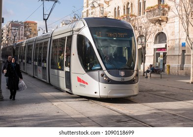 Jerusalem, Israel - December 19 2017: The light rail along Ben Yehuda Street, the major street in downtown Jerusalem.