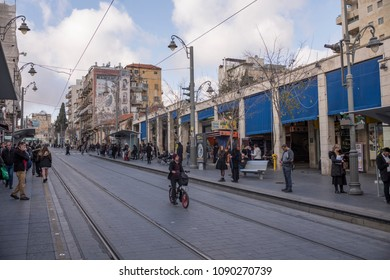 Jerusalem, Israel - December 19 2017: The light railway along Ben Yehuda Street, the major street in downtown Jerusalem.