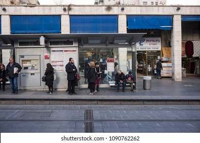 Jerusalem, Israel - December 19 2017: The light rail station along Ben Yehuda Street, the major street in downtown Jerusalem.