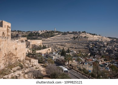 Jerusalem, Israel - December 19 2017: The the Mount Olive viewed from Temple Mount.