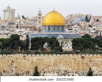 Jerusalem, Israel - December 28, 2017: view of The Old City of Jerusalem from the Mount of Olives. closeup of the The Dome of the Rock