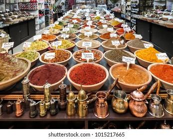 Jerusalem, Israel - December 28, 2017: spice market in Jerusalem