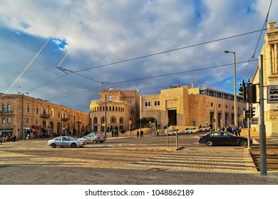 JERUSALEM, ISRAEL - DECEMBER 29, 2016: Area with cars and train tracks in Tsahal Square in the center of Jerusalem.