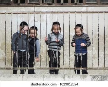 Jerusalem, Israel - December 31, 2017:   orthodox Jewish boys in the School in the typical arthodox area in Jerusalem