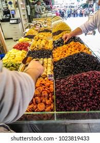 Jerusalem, Israel - December 31, 2017:  Dried fruits in The Machane Yehuda Market in Jerusalem