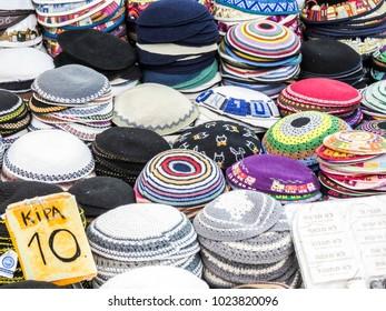 Jerusalem, Israel - December 31, 2017:  Kipa shop in The Machane Yehuda Market in Jerusalem