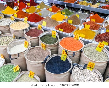 Jerusalem, Israel - December 31, 2017: seeds, legumes and spices in the Machane Yehuda Market in Jerusalem