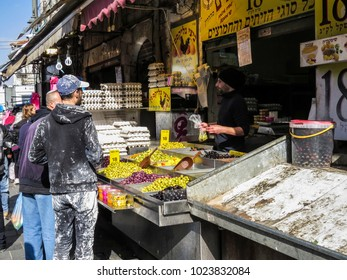Jerusalem, Israel - December 31, 2017:  Olives in the Machane Yehuda Market in Jerusalem