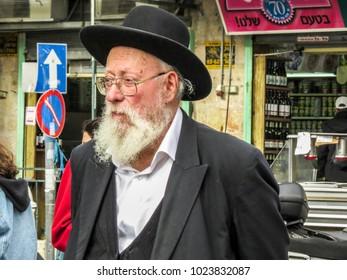 Jerusalem, Israel - December 31, 2017:  People walking in The Machane Yehuda Market in Jerusalem