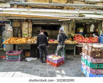 Jerusalem, Israel - December 31, 2017:  The Machane Yehuda Market in Jerusalem