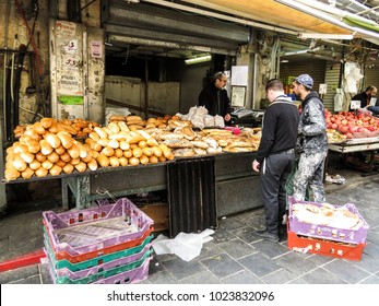 Jerusalem, Israel - December 31, 2017:  The Machane Yehuda Market in Jerusalem