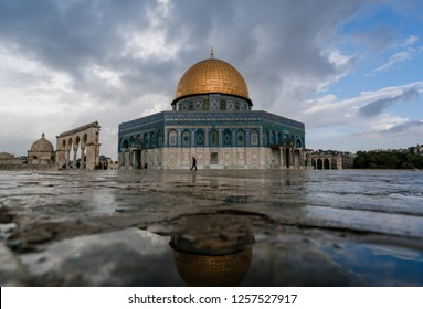JERUSALEM, ISRAEL - December 6, 2018: The Dome of the Rock, one of the holiest sites in Christianity, Judaism and Islam, as seen from its courtyard.