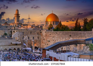 Jerusalem Israel. Dome of the rock, temple mount and wailing wall at sunset. Jerusalem Israel September 2019