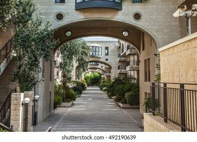 Jerusalem, Israel. Elegant arched passageway between buildings