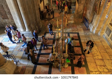 Jerusalem, Israel - Feb 04, 2017: View from top of Mount Calvary to entrance and stone of anointing in Holy Sepulcher, Jerusalem, Israel